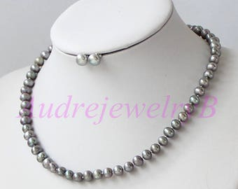 Hand-woven Chunky Pearl Necklace And Earring Set Wedding Woman Jewelry