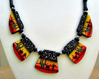 vintage 40s new mexico folk art hand painted necklace wood novelty scene free shipping