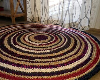 Beautiful hand crocheted wool rug, 45 inches in diameter, made of 100% wool