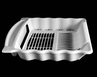 Rubbermaid Dish Rack Large White Plastic Wavy Sides Contours 6055 1990s  Kitchen