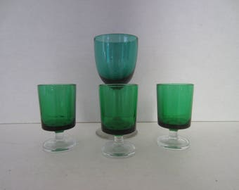4 Pieces Green Glassware Glasses, 3 Cordial and 1 Wine Glass