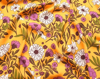 5 patterns new arrival white flower yellow red black navy blue  chiffon fabric by yard