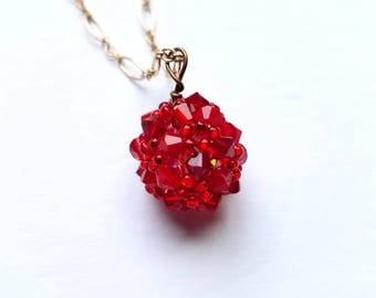 beaded ball pendant, swarovski hand woven crystal ball, handmade beaded ball pendant, beaded necklace, beaded jewelry, choker necklace