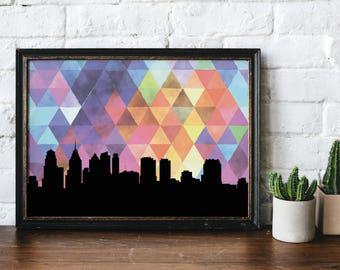 Philadelphia art print | Philadelphia skyline wall art | Philadelphia skyline print | Philadelphia skyline art | Philadelphia wall art