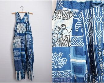 80s Sacred Treads Blue Cotton Overalls/ Bohemian Overalls / Hippie/ Vintage Jumpsuit / Indian Romper /Harem Pants/  Size S/M