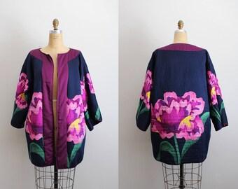 Vintage Reversible Oversized Coat / Floral Coat / Silk Floral Print Jacket / Hippie Coat/ Bohemian /Kimono Coat/  Very Vollbracht/ One Size
