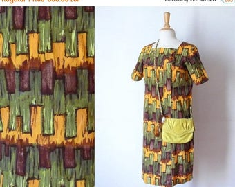 50%DISCOUNT 60s brown ochre green atomic printed wiggle bow dress XL