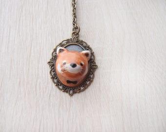 OOAK handmade red panda necklace