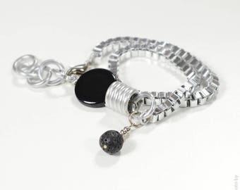 Black Agate Bracelet-Necklace,Gamestone bracelet,Pedant necklace,Gamestone Necklace,Contemporary Bracelet,Aluminum Bracelet,Lava stone