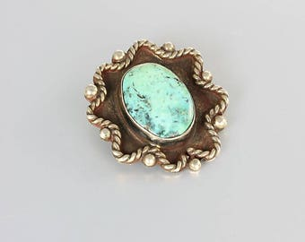 Blue Turquoise Navajo Pendant, Sterling silver Pendant, Southwest jewelry
