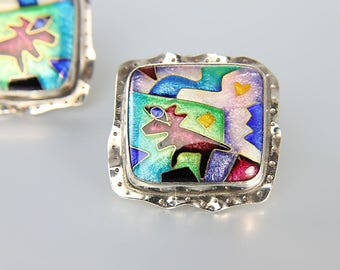Abstract Earrings, Southwest Sterling silver Enamel Earrings jewelry, CR Dunetz Coyote jewelry