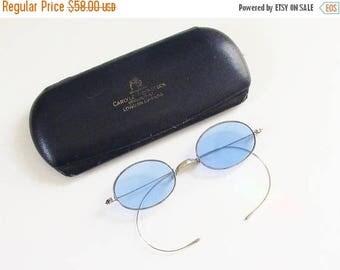 ON SALE Antique Victorian Wire Blue Sunglasses Cobalt