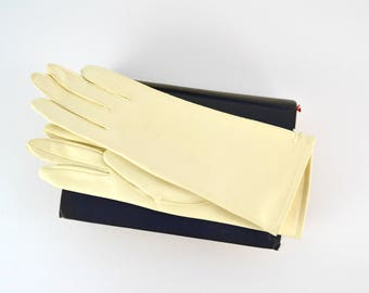 1960s Ivory NOS Table Cut Length Ladies Gloves by Van Raalte, The Hub of Wheeling and Steubenville