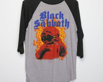 Black Sabbath Shirt Vintage tshirt 1983 Born Again World Tour Concert Tee 1980s Tony Iommi Ian Gillan Ozzy Osbourne Rock Band Heavy Metal