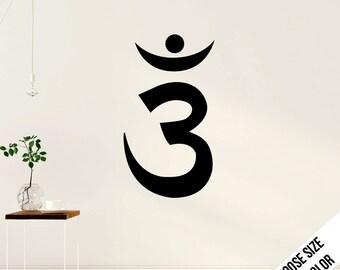 Om - Third Eye Chakra Wall Decal  - Yoga Ohm - Vinyl Sticker