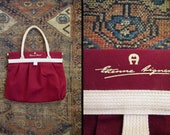 Vintage Etienne Aigner Tote Bag and Purse Maroon Canvas New Old Stock