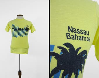 Vintage Nassau Bahamas T-shirt 80s Yellow Palm Tree Made in USA - Small