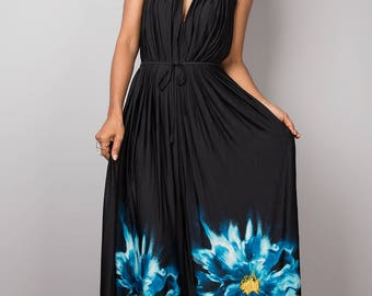 Maxi dress, halter dress, sleeveless dress, long black dress, floral dress, cocktail dress