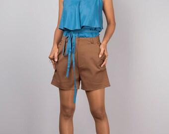 Brown shorts, women's shorts, high waist shorts, short pants, summer pants, short brown pants, fashion shorts, tennis shorts