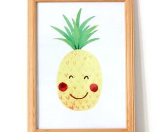Pineapple Nursery Print, Nursery Decor, Kawaii Pineapple Print, Fruit Print, Nursery Print Fruit