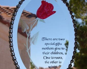 Glass Oval Bevel with Beautiful Mothers Saying (813)
