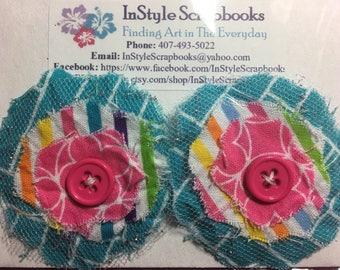 Handmade Shabby Chic Fabric Flowers - Medium Size