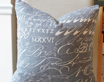 Rustic Farmhouse Text Script Font Grey Charcoal Linen Look Pillow Cover Home Decor by HomeLiving Throw Pillow Cover Choose Size