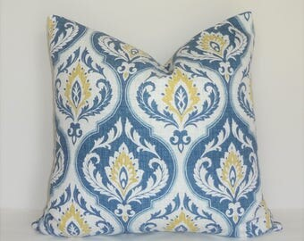 Blue Gold White Aqua Damask Floral Pillow Cover Throw Pillow Cover Living Room Decor Size 18x18