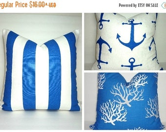 SPRING FORWARD SALE New Cobalt Blue Coral Pillow Cover Royal Blue Grey White Coral Stripe Anchor Nautical Pillow Covers All Sizes