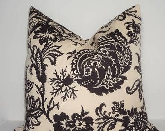 SPRING FORWARD SALE Waverly Schumacher Brown Beige Damask Floral Couch Pillow Covers Choose Size Home Decor by HomeLiving
