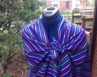 3 Yard Fabric Rebozo - Mexican Cambaya Shawl- Blue Stripes Pattern - Aztec Scarf- Boho Style Doula and Midwife Labour Tools