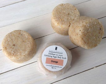 Solid Exfoliating Sugar Body Scrub with all natural soap, sugars and butters - one scrub weighing 1oz - 2 to 4 uses