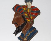 Reserved - Wood Brooch Sultan Nomad Pirate Huge Wooden Head Face Figural Pin Unique Kitsch