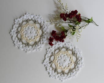 "Small Crochet Doily Pair - Taupe and Beige - Lacy Small Mini 6"" - Set of 2"