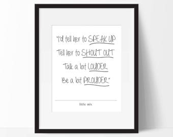 Little Mix - Little Me Lyrics. Typography Print. 8x10 on A4 Archival Matte Paper