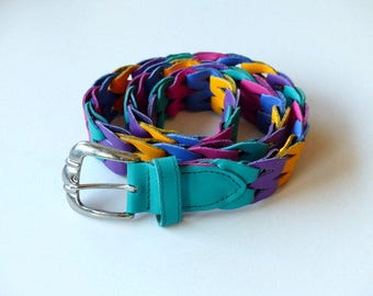 Vintage Woven Belt Braided Belt Leather Belt 80s Rainbow Belt  1980s Hipster Boho / Womens Unisex / XS Small