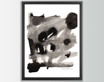 Black Ink Art Print. Black and white abstract art. Fine art painting. Modern abstract art. Living room wall art. Brush stroke art abstract