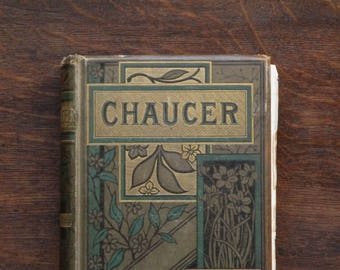 Victorian Chaucer, The Canterbury Tales by Geoffrey Chaucer, antique book