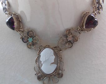 Vintage Necklace Silver Amethyst Cameo Real Stones GORGEOUS