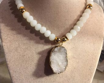 White Necklace - Gold Jewelry - Beaded Jewellery - Druzy Pendant - Long - Chunky