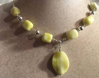 Yellow Necklace - Lemon Jade Gemstone Jewelry - Sterling Silver Chain Jewellery - Pendant - Chain