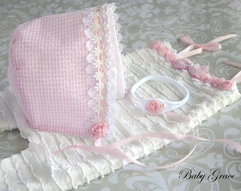 Newborn Romper and Bonnet, Newborn Photo Outfit, Newborn Romper, Baby Photo Prop, Newborn Set, Romper and Bonnet, Coming Home Outfit