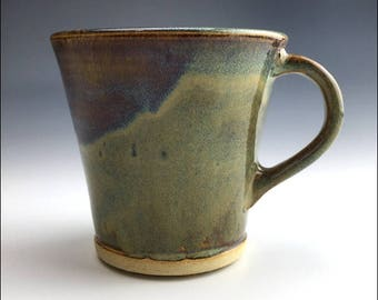 slipslide MUG | large green blue gray curvy coffee cup, drippy glaze, wheel-thrown and altered