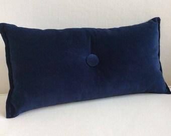 velvet TOSS throw pillow 8x16 navy blue with  button