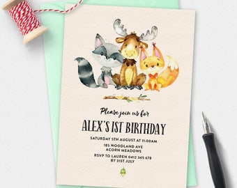 Woodland animals invitation, birthday invitation, kids invitation, Custom invitation, party invites, first birthday, 1st birthday, printable