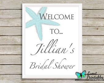 Printable Starfish Bridal Shower Welcome Sign, Beach Wedding Poster, Digital File by Event Printables