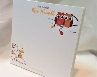Personalized Note Pad in Owls Theme