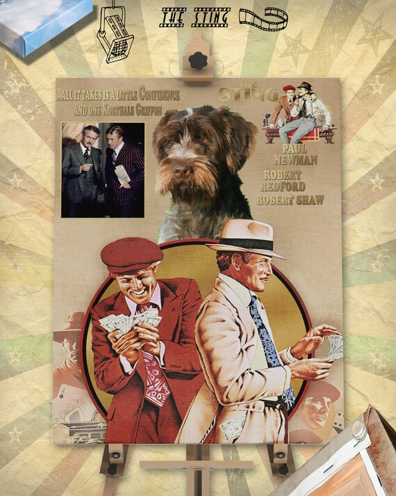 Wirehaired Pointing Griffon Korthals Pointing Griffon Vintage Canvas Print - The Sting Movie Poster