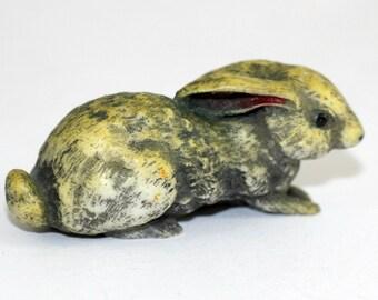 Vintage Rabbit Figurine Made Bath England   Crouching Rabbit   Easter Rabbit   Shy Woodland Rabbit Yellow Gray   Bunny Figure