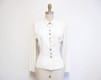 Vintage 1940s Blouse | White Rayon Mother of Pearl Buttons 1940s Jacket | size small - medium